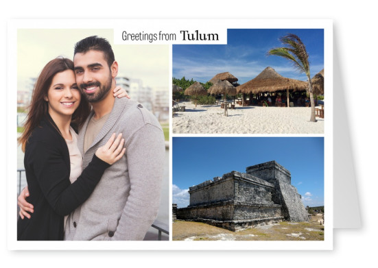 Tulum photocollage Maya ruins, beach houses
