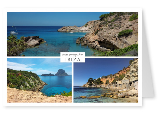 Three photos of the balearic island ibiza in the Mediterranean Sea