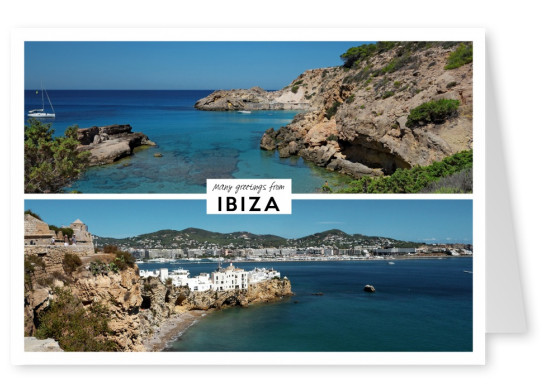 two photos of the island ibiza in spain