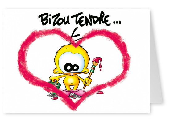 Le Piaf Cartoon Valentine's Day Tendres bizoux