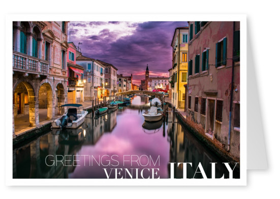 venice by night photo postcard