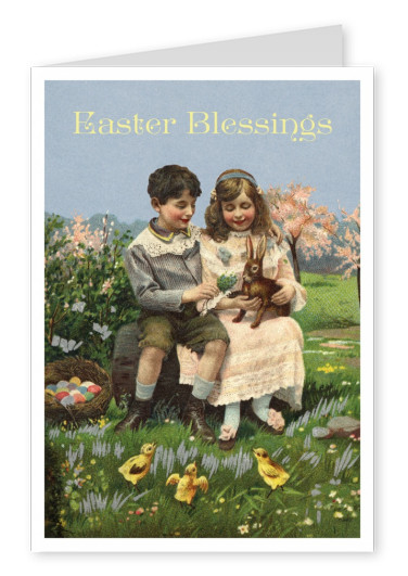 Easter blessings in traditional victorian age vintage style–mypostcard