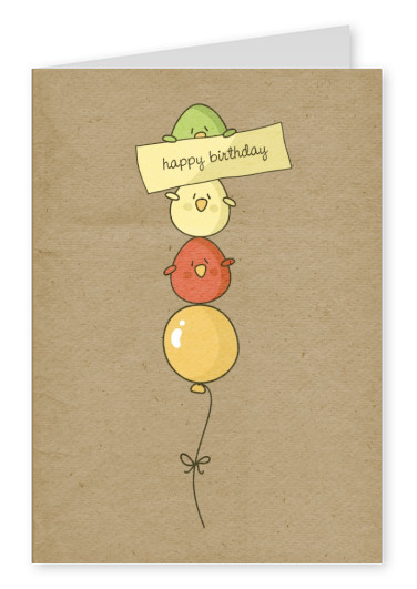 little balloons vintage cartoon happy birthday graphics postcard greeting card