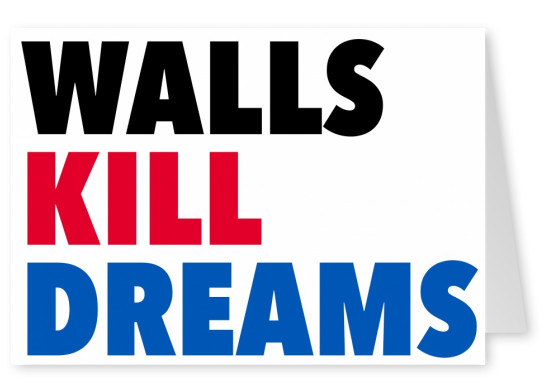 walls kill dreams lettering in blure red and black