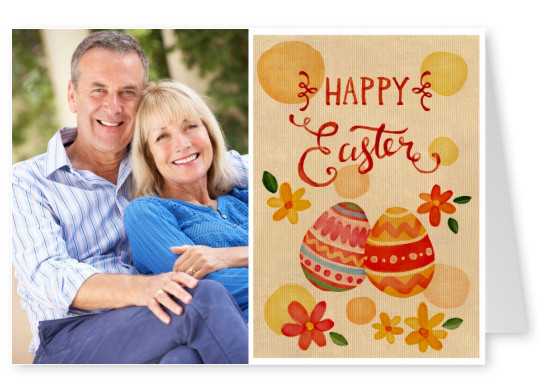Card with watercolor Easter eggs