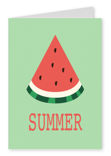 greeting card with a piece of watermelon on a green background