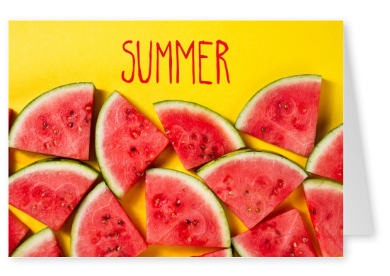greetingcard with watermelons on a yellow background