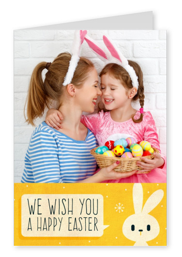 template card with yellow background and easter bunny