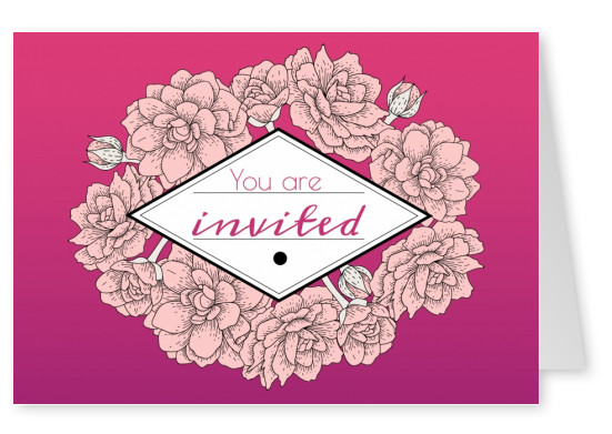 Purple Invitationcard with flowers