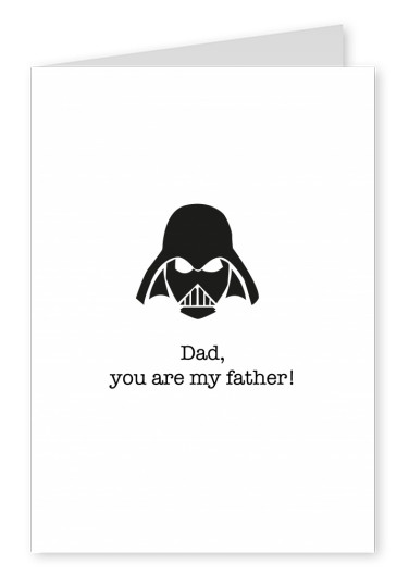 white Card with Darth Vader on it