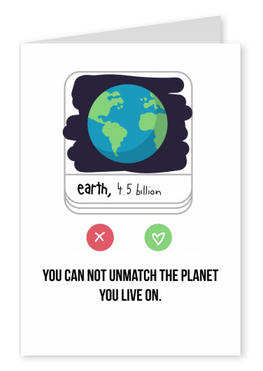 tinder card with planet earth on it
