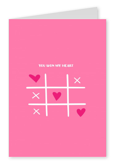 pink card tic tac toe you won my heart