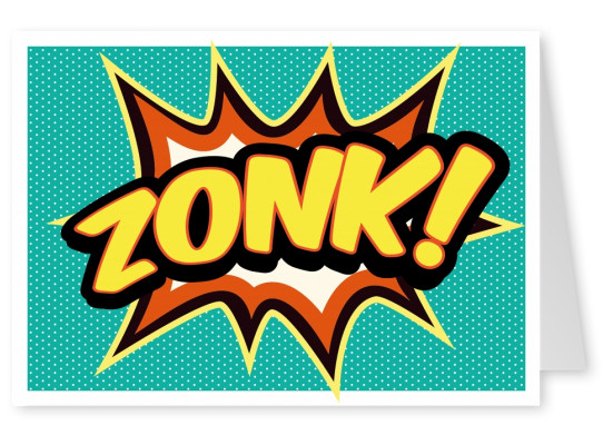 comic zonk with turquoise background