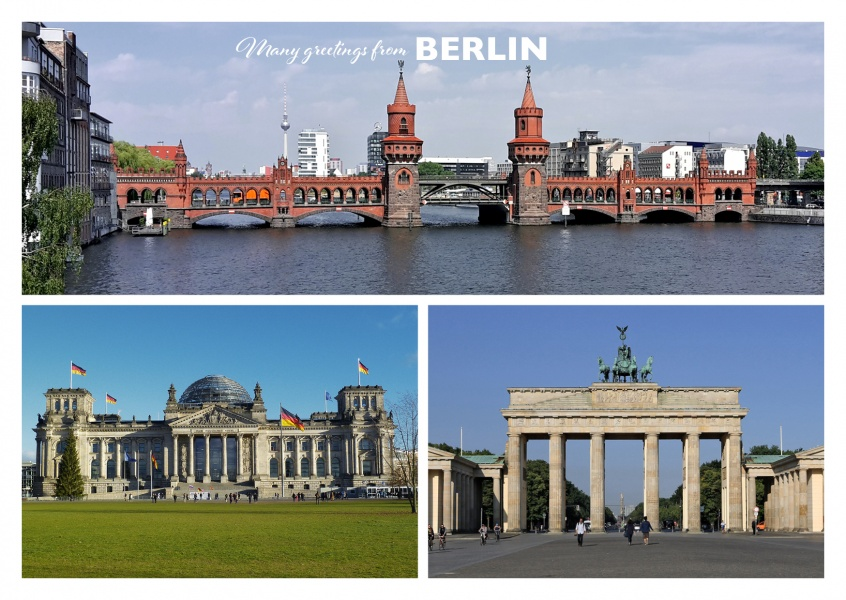 Postcard with three photos of Berlin with Oberbaumbrücke, Reichstag and Brandburger Tor