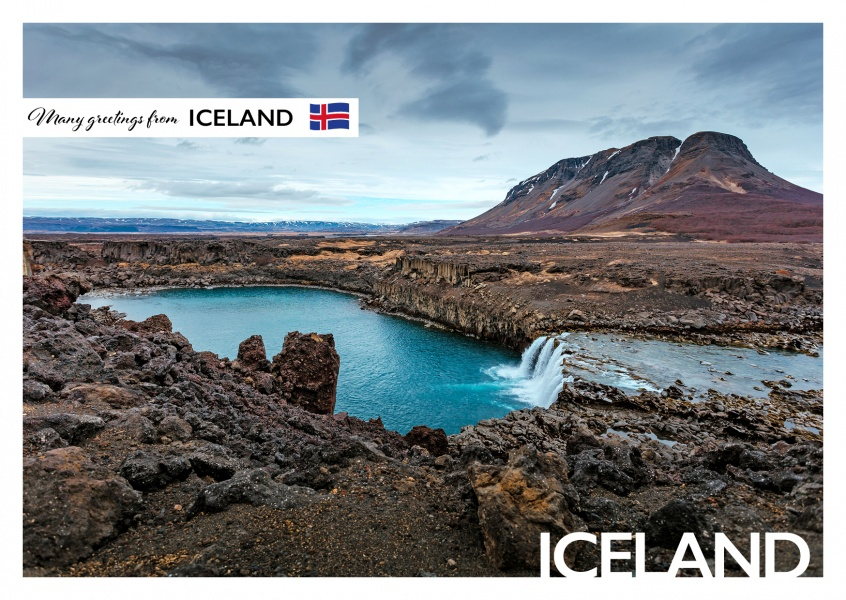 Photo of Iceland waterfall with mountain in the background–mypostcard