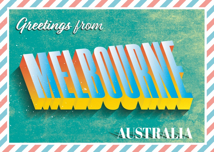 Greetings from melbourne retro style vacation greeting cards retro greeting card melbourne m4hsunfo