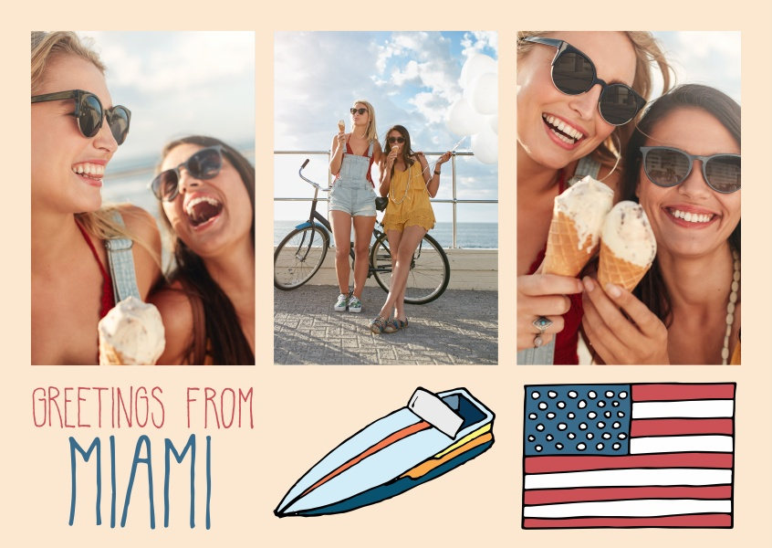 template with illustrations from miami