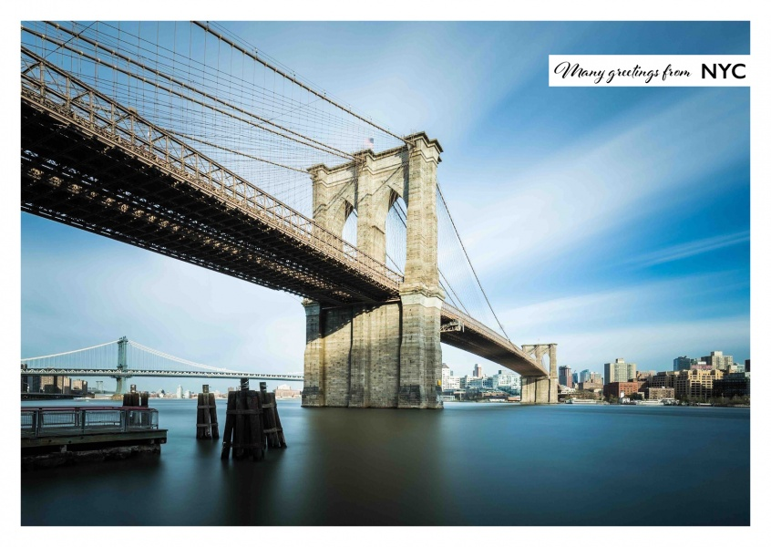 Postcard New York City with photo of the Brooklyn Bridge