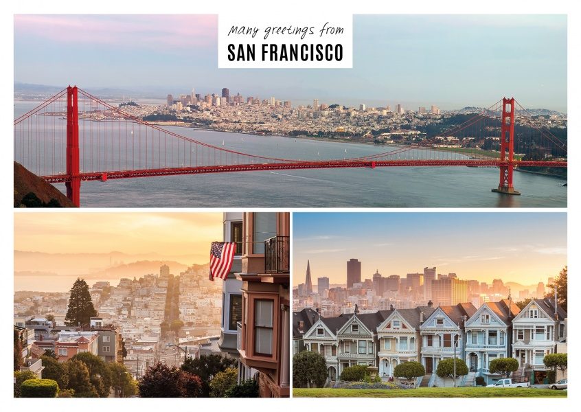 San francisco multipic postcard with three photos of san francisco with white frame m4hsunfo