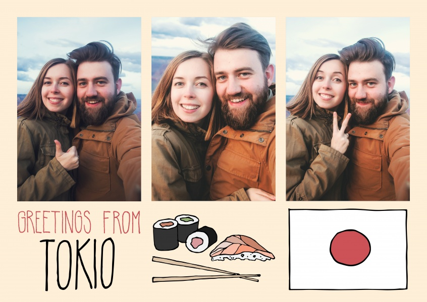 template with illustrations from tokyo flag japan sushi