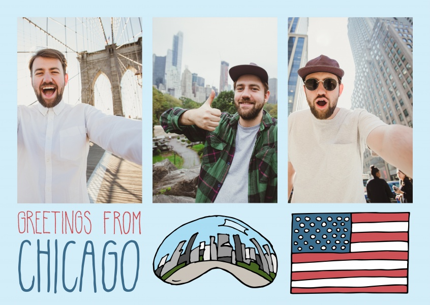 Template mit Illustrationen von Chicago