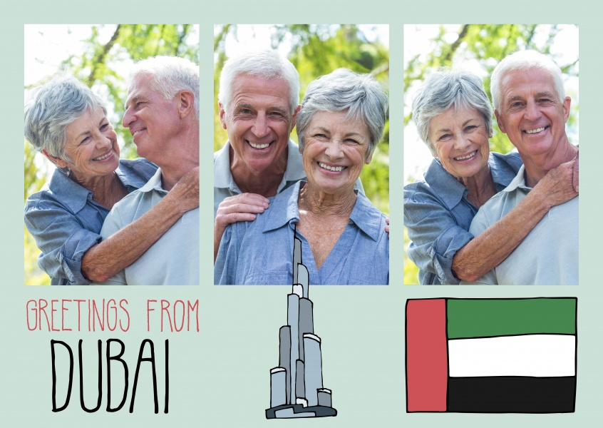 template mit Illustrationen von Dubai