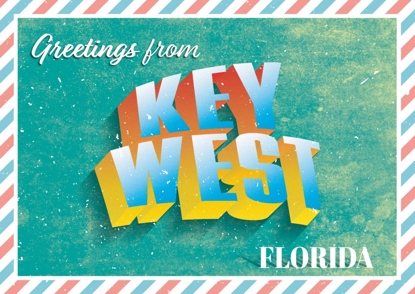 greetings from key west, florida in retro 3d schrift