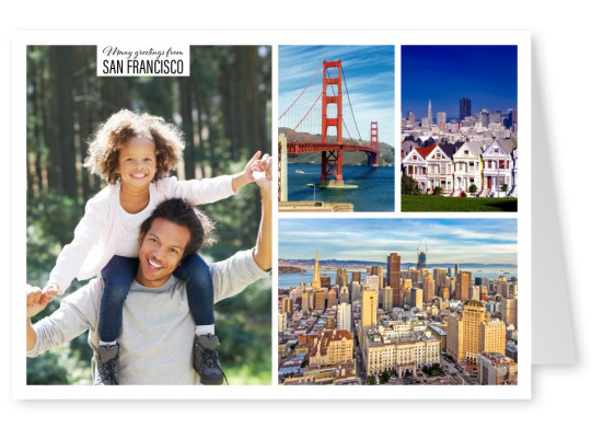 Dreiercollage San Franciscos mit Golden Gate Bridge und Stadtleben