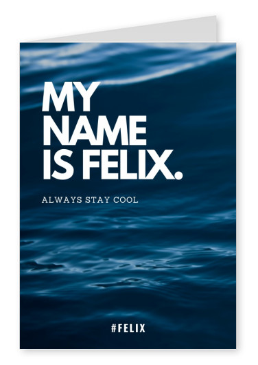 MY NAME IS FELIX. ALWAYS STAY COOL