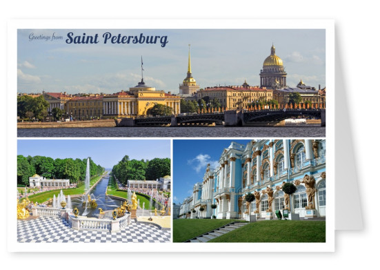 Postkarte collage saint petersburg russland grusskarte