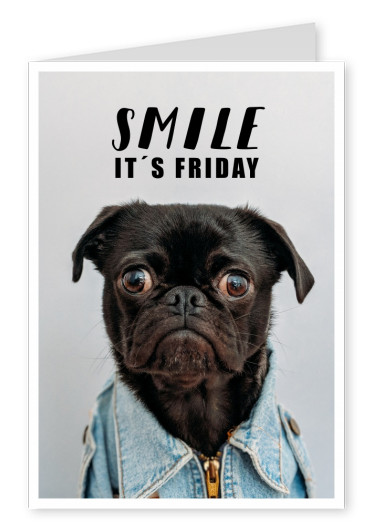 SMILE IT´s FRIDAY Hund witziger Postkartenspruch