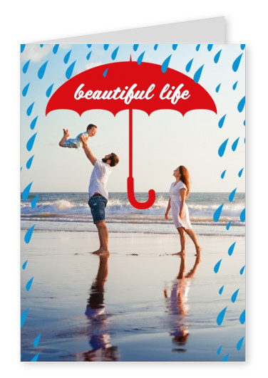 Regernschirm Illustration mit Spruch beautiful life in blau braun