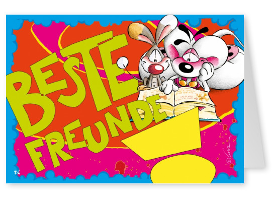 freunde diddle maus bunte illustration postkarte