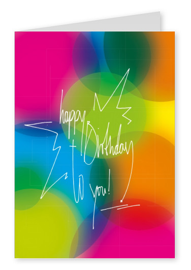 bunte postkarte happy birthday grusskarten design