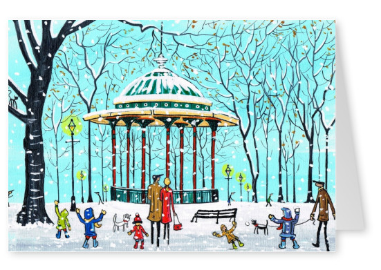 Illustration South London Artist Dan Clapham bandstand snowy