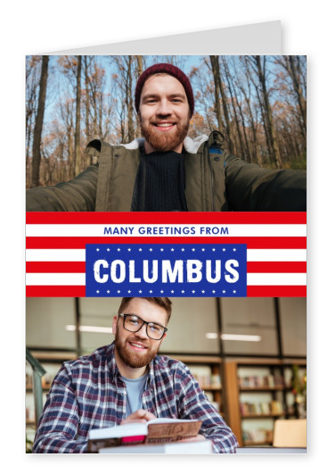 Columbus Grüße USA Flaggendesign