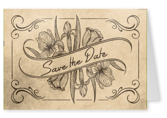 Vintage Postkarte Einladung Save the date