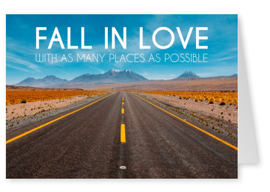 Fall in love with as many places as possible Spruch Fotopostkarte