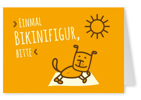 Orangene Grusskarte von greenpetfood mit Hund Illustration