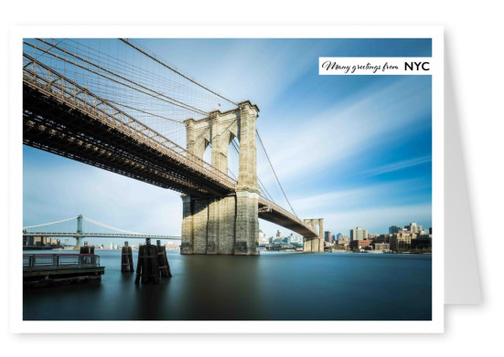 Postkarte New York City mit Foto von der Brooklyn Bridge