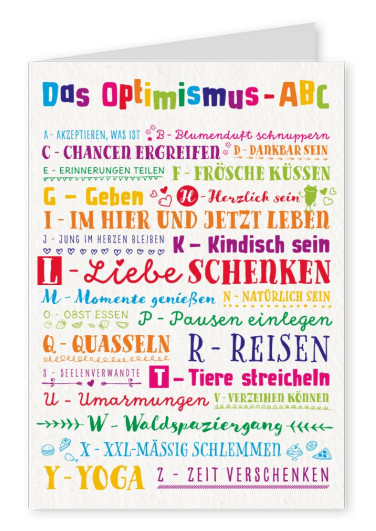 bunte schrift optimismus abc