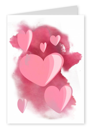 Over-night Design heart watercolour pink