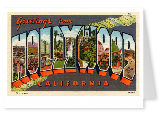 Curt Teich Postcard Archives Collection greetings from Hollywod California