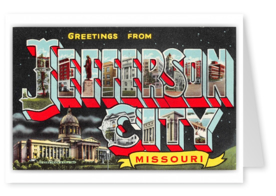 Jefferson City Missouri Greetings Large Letter State Capital at Night