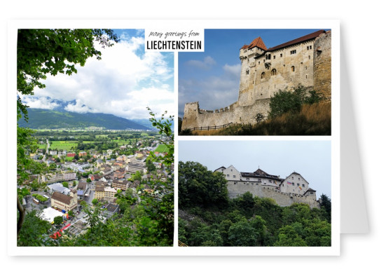 Dreier collage mit fotos aus liechtenstein