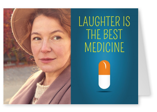 Pille mit lustigem Denglisch-Spruch: laughter is the best medicine