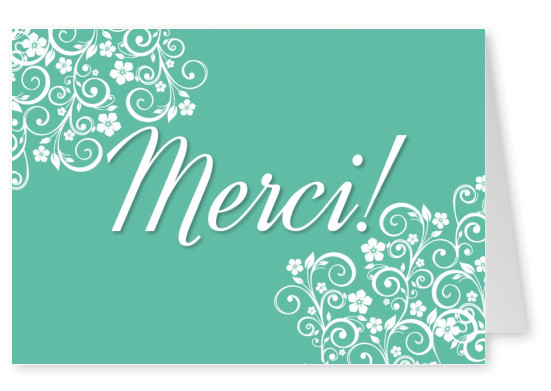 merci floral muster postkarte