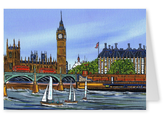 Illustration South London Artist Dan messing around on the water