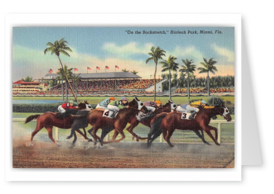 Miami Florida Hialeah Park Race Track Jockeys Horse Racing