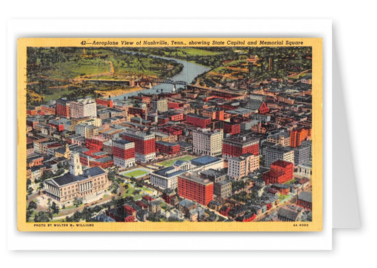 Nashville Tennessee Aeroplane View showing State Capitol